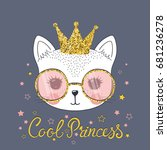 cute cat. cool princess | Shutterstock .eps vector #681236278