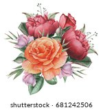 hand painted watercolor... | Shutterstock . vector #681242506