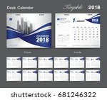set desk calendar 2018 template ... | Shutterstock .eps vector #681246322