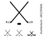 hockey sticks set icon... | Shutterstock .eps vector #681250606
