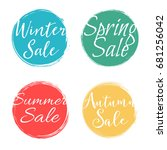 handwritten seasonal sale... | Shutterstock .eps vector #681256042