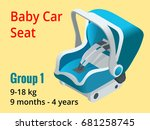 isometric baby car seat group 1 ... | Shutterstock .eps vector #681258745