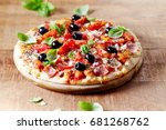 Pizza With Ham  Black Olives ...