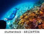 woman freediver glides over... | Shutterstock . vector #681269536