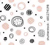 seamless pattern with hand... | Shutterstock .eps vector #681274198