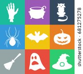 set of flat halloween icons....