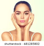 beauty portrait. beautiful spa... | Shutterstock . vector #681285802