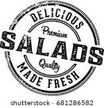 fresh salads vintage restaurant ... | Shutterstock .eps vector #681286582