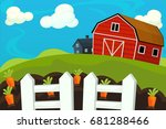 cartoon farm scene   background ... | Shutterstock . vector #681288466
