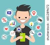 millennial consuming online... | Shutterstock .eps vector #681289672