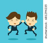 businessmen high five jumping... | Shutterstock .eps vector #681294235