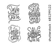 save the date postcard. wedding ... | Shutterstock .eps vector #681299122