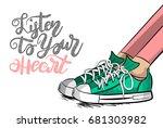pop art woman doodle sneakers... | Shutterstock .eps vector #681303982