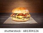 hamburger with craft paper on...