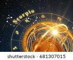 zodiac sign scorpio and... | Shutterstock . vector #681307015
