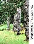 Small photo of Haida village poles