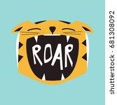 roaring cartoon tiger. vector... | Shutterstock .eps vector #681308092