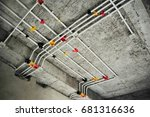 installed electrical conduits   Shutterstock . vector #681316636