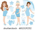 Vector Pregnant Women Set With...