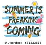 grunge summer t shirt design... | Shutterstock .eps vector #681323896