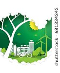 eco and nature concept paper... | Shutterstock .eps vector #681334342