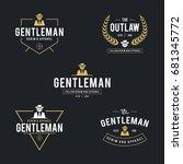 vintage man in black suit badge ... | Shutterstock .eps vector #681345772