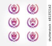 shield symbol with laurel...   Shutterstock .eps vector #681352162