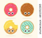 set of four cute donuts with... | Shutterstock .eps vector #681352285