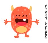 cute monster fluffy...   Shutterstock .eps vector #681353998