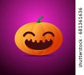 happy halloween cute pumpkin... | Shutterstock .eps vector #681361636