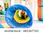little kid playing and crawling ... | Shutterstock . vector #681367762