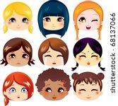 Set Of Nine Facial Expressions...