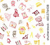 seamless pattern with hand... | Shutterstock .eps vector #681376438