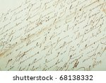 Hand writing on very old paper. - stock photo