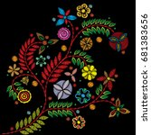 embroidery colorful trend... | Shutterstock . vector #681383656