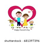 happy parents day. father ... | Shutterstock .eps vector #681397396