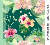 stylized hawaiian print. silk... | Shutterstock .eps vector #681402766
