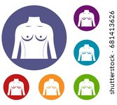 plastic surgery of torso icons... | Shutterstock .eps vector #681413626