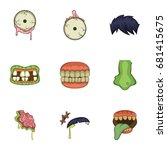 dead body part icons set.... | Shutterstock .eps vector #681415675