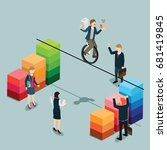balance businessman balancing... | Shutterstock .eps vector #681419845