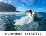 muscular surfer riding on big... | Shutterstock . vector #681437512