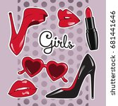 stickers set for girls over... | Shutterstock .eps vector #681441646