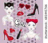stickers set cartoon girls and... | Shutterstock .eps vector #681441766
