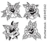 vector rose set tattoo design... | Shutterstock .eps vector #681445162