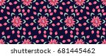 seamless folk pattern in small... | Shutterstock . vector #681445462