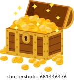 treasure box full of gold coins | Shutterstock .eps vector #681446476