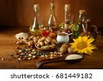 still life seeds and oils... | Shutterstock . vector #681449182