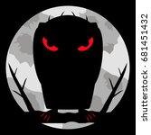 bird raven at night sitting on... | Shutterstock .eps vector #681451432