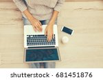woman using laptop for browsing ... | Shutterstock . vector #681451876