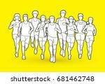 marathon runners  group of... | Shutterstock .eps vector #681462748